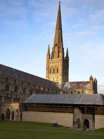 Last Light on the Spire at Norwich Cathedral, Norwich, Norfolk, England, United Kingdom, Europe