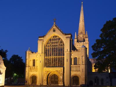 Norwich Cathedral Floodlit at Dusk, Norwich, Norfolk, England, United Kingdom, Europe