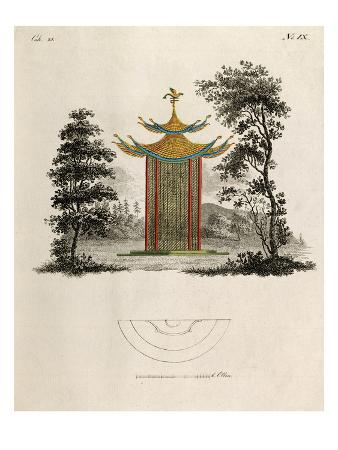 Oriental pagoda and plan