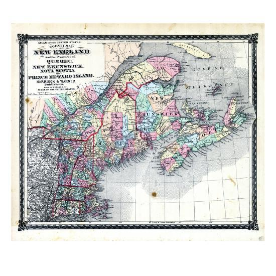 Map Of New England And Quebec.1876 County Map Of New England And The Provinces Of Quebec New Brunswick Nova Scotia And Prince