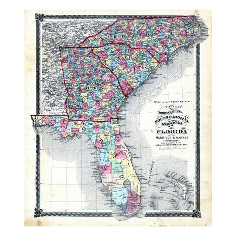 photo regarding Printable Map of North Carolina Counties named 1876, County Map of North Carolina, South Carolina, Ga and Florida, Missouri, United Says