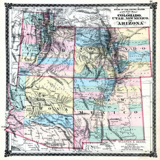 Map Of Arizona Utah And Colorado.1875 Colorado Utah New Mexico And Arizona States Map United States