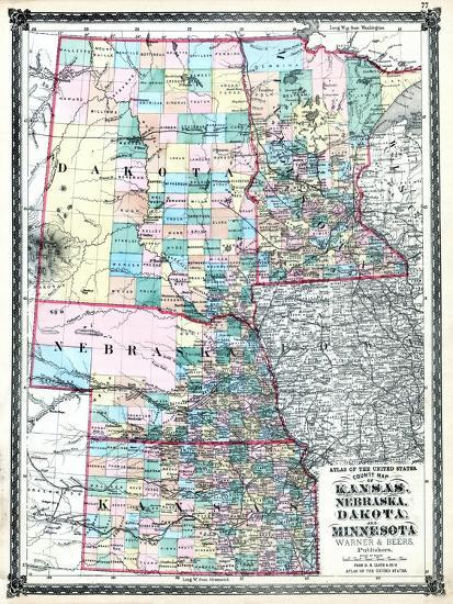 1875, Kansas, Nebraska, Dakota and Minnesota States Map, United ...