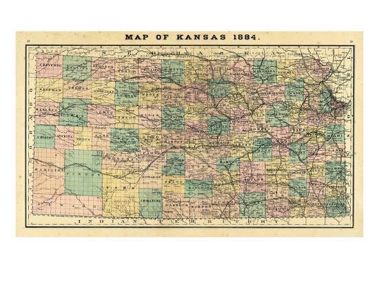 State Map Of Kansas.1884 Kansas State Map Kansas United States Giclee Print At
