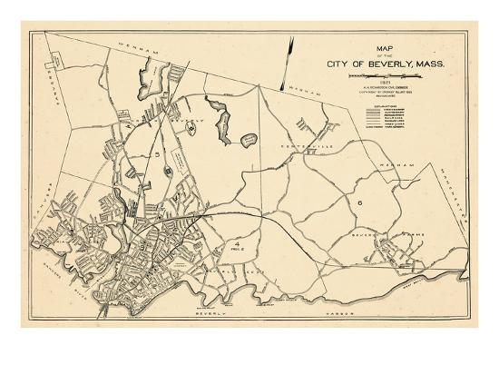 1932 Beverly City Map Massachusetts United States Giclee Print At
