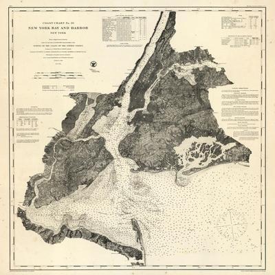 1866, New York Bay - Staten Island - Point Comfort Chart 1851 New York and New Jersey, New York, Un