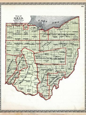 Ohio United States Map.1899 State Map Government Surveys Ohio United States Giclee