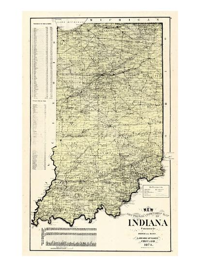 Indiana United States Map.1874 State Map Indiana United States Giclee Print At Allposters Com