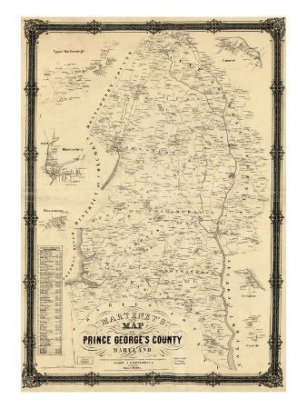 1861, Prince George's County Wall Map, Maryland, United States