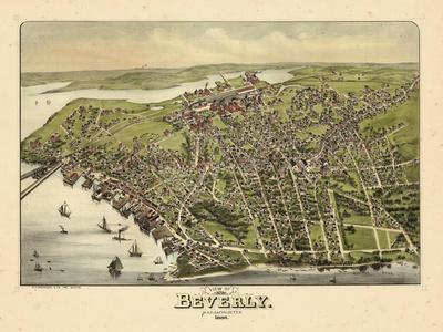 1886, Beverly Bird's Eye View, Massachusetts, United States