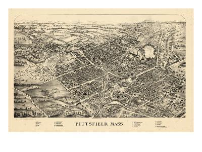 1899, Pittsfield Bird's Eye View, Massachusetts, United States