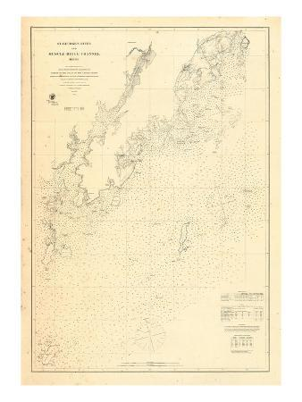 1864, St Georges River and Muscle Ridge Channel Chart Maine, Maine, United States