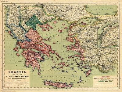 1898, Greece, Albania, Turkey, Macedonia, Bulgaria, Europe, Graecia