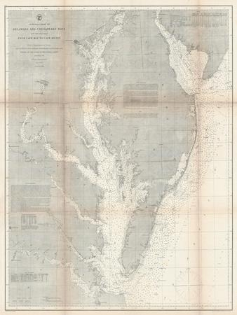 1866, Chesapeake Bay and Virginia's Eastern Shore Chart Virginia, Virginia, United States