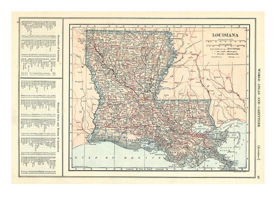 1914 Louisiana State Map 1908 Revised 1914 Louisiana United - Us-map-1908