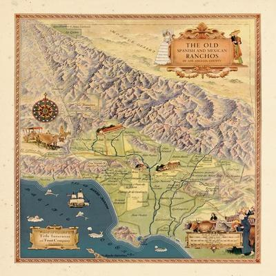 1937, Los Angeles 1937c Modern Map Depicting Old Spanish and Mexican Ranchos, California, United St