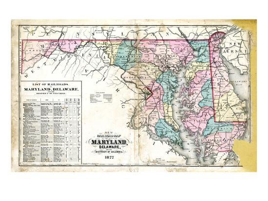 1877, State Map of Maryland - Delaware - D.C., Maryland, United ...