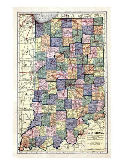 1922, Indiana State Map, Indiana, United States Giclee Print at ...
