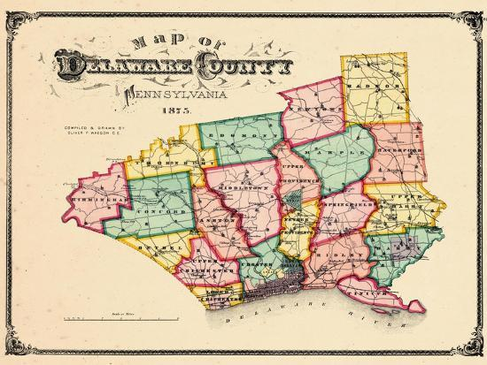 1875, Delaware County Map, Pennsylvania, United States Giclee Print ...