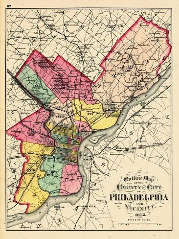photograph relating to Printable Maps of Philadelphia titled 1872, Philadelphia County and Town Define Map, Pennsylvania, United Claims