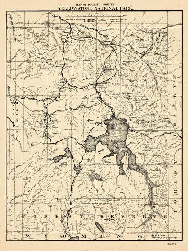 Yellowstone Us Map.1900 Yellowstone National Park Tourist Map Wyoming United States