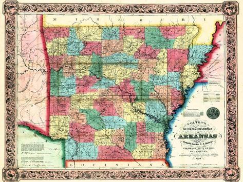 photograph regarding Printable Map of Arkansas named 1854, Arkansas Country Map, Arkansas, United Says