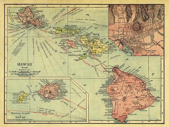 1912, Hawaii State Map, Hawaii, United States Giclee Print at ...