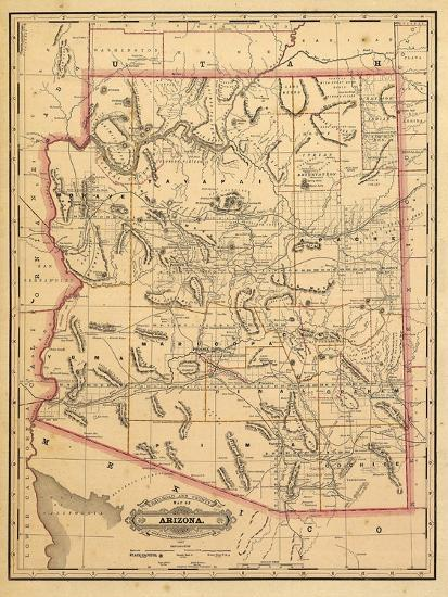 1887, Arizona State Map, United States Giclee Print at AllPosters.com
