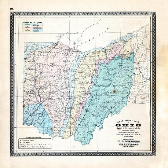 Geological Map Of United States.1868 State Geological Map Ohio United States Giclee Print At