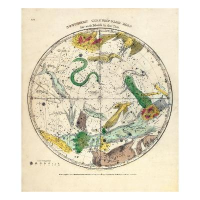 1835, Circumpolar Map Southern,Constellations