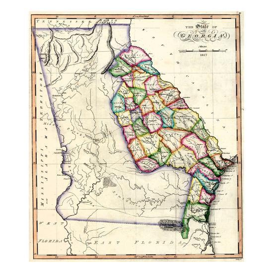 1817, Georgia State Map, Georgia, United States Giclee Print at ...