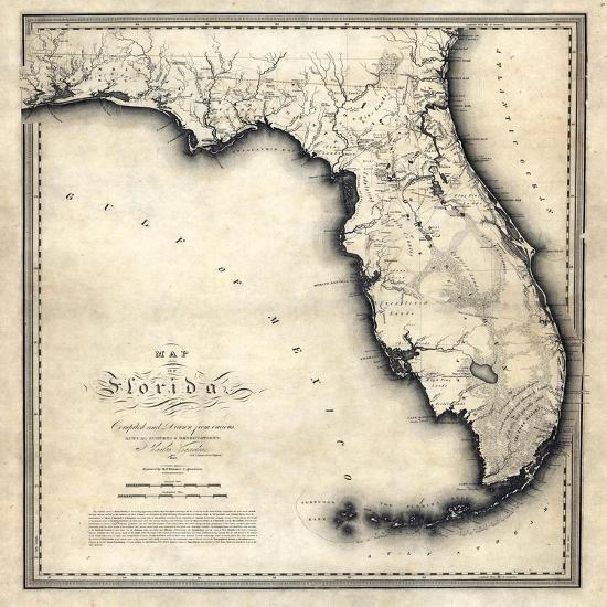 1823 Florida State Map Florida United States Giclee Print At