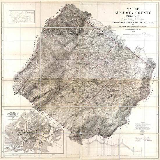Virginia United States Map.1870 Augusta County Wall Map Virginia United States Giclee Print