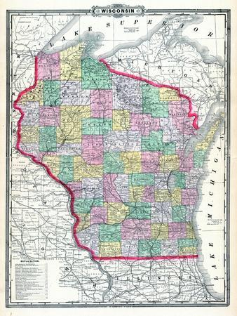 1892, Wisconsin State Map, Wisconsin, United States