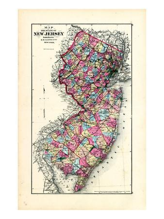 1876, New Jersey State Map, New Jersey, United States