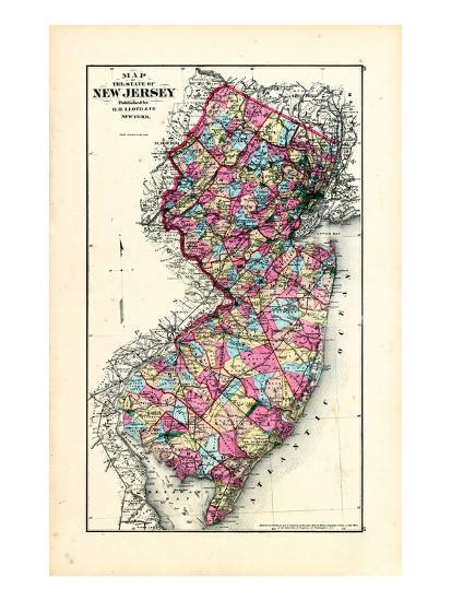1876, New Jersey State Map, New Jersey, United States Giclee Print ...