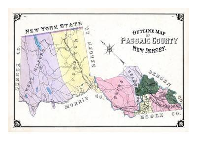 1877, Passaic County Outline Map, New Jersey, United States