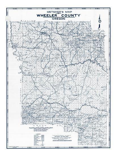 Wheeler Oregon Map.1942 Wheeler County Oregon United States Giclee Print At