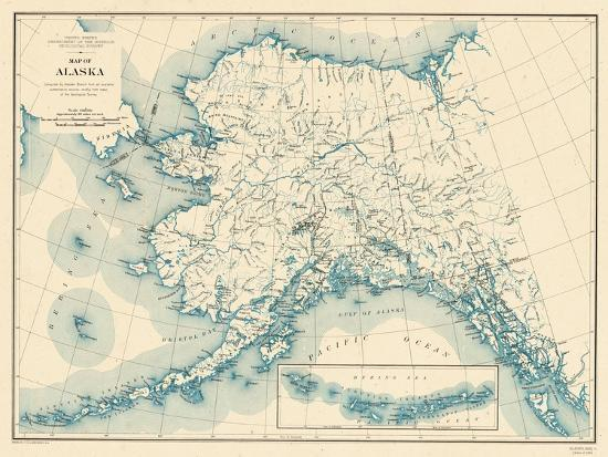 1941 Alaska State Map Alaska United States Giclee Print At