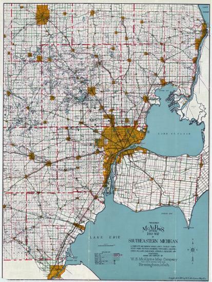 1925, Southeastern Michigan Road Map, Michigan, United States