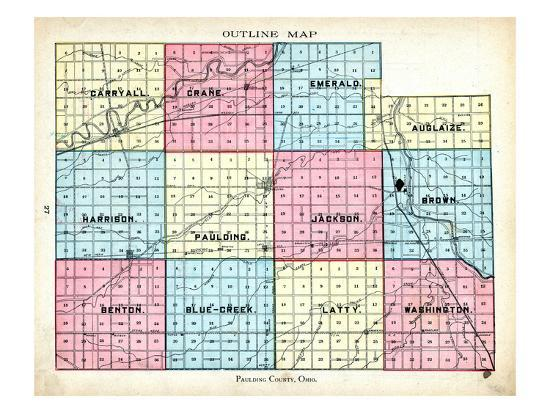 1905 Paulding County Outline Map Ohio United States Giclee Print