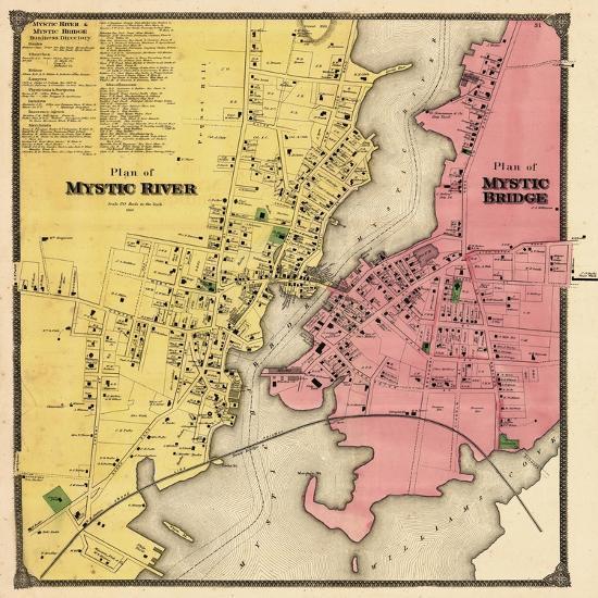 1868 Mystic River Map Mystic Bridge Map Connecticut United - Us-map-connecticut