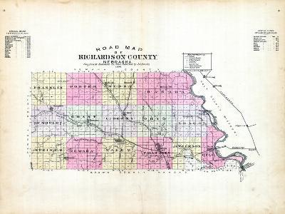 1896, County Road Map, Nebraska, United States