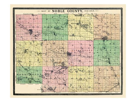 Indiana United States Map.1893 Noble County Map Indiana United States Giclee Print At
