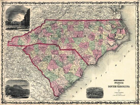 1861 United States Map.1861 North Carolina And South Carolina State Map North Carolina