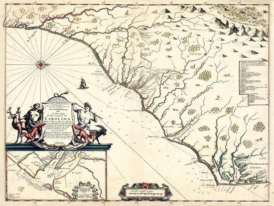 United States Map North Carolina.1682 North Carolina And South Carolina State Map North Carolina