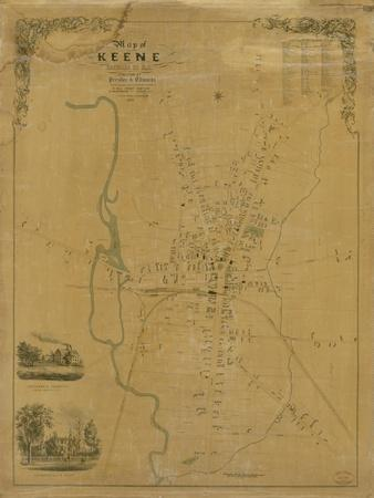1853, Keene Wall Map, New Hampshire, United States