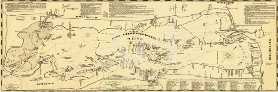 Litchfield Maine Map.1900 Lake Cobbosseecontee Winthrop Manchester Litchfield