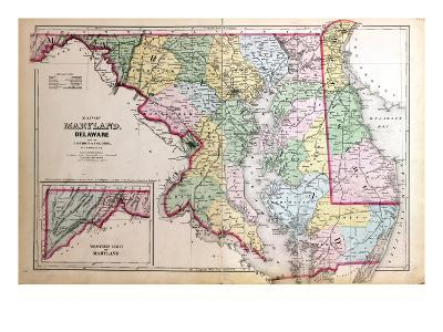 1879, Maryland, Deleware and District of Columbia Map, District of Columbia, United States
