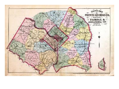 1879, Outline Map - Prince George County, Maryland, Fairfax and Alexandria Counties Virginia, Distr